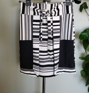 Cabi striped skirt with faux wrap detail on back